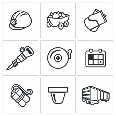 mine lamp: Vector Isolated Flat Icons collection on a white background for design