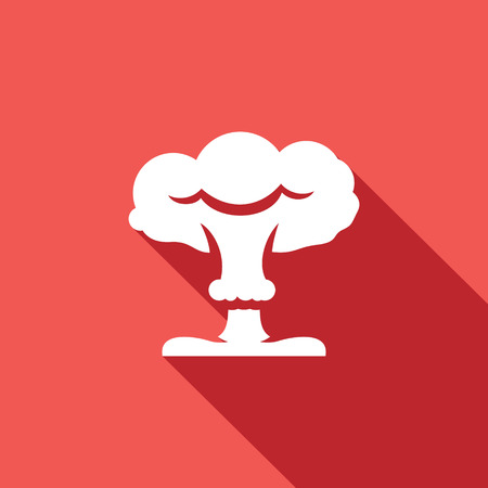 hydrogen bomb: Vector Isolated Flat Icon on a red background for design Illustration