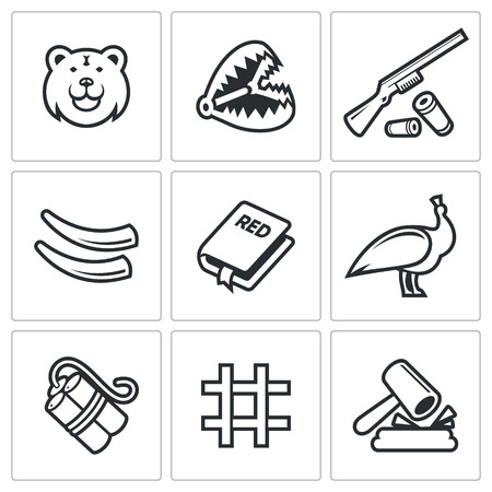 arrested: Vector Isolated Flat Icons collection on a white background for design