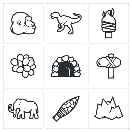 animal den: Vector Isolated Flat Icons collection on a white background for design