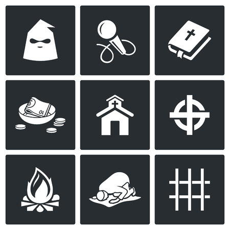 believer: Vector Isolated Flat Icons collection on a black background for design Illustration