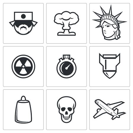 genocide: Vector Isolated Flat Icons collection on a white background for design