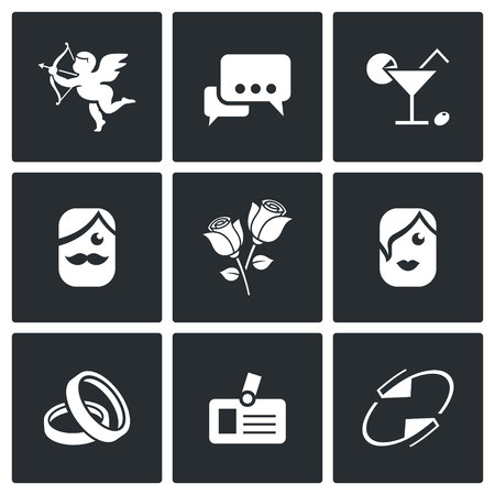speed dating: Vector Isolated Flat Icons collection on a black background for design Illustration