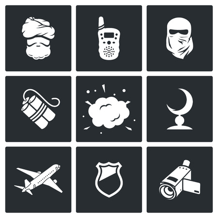 suppression: Vector Isolated Flat Icons collection on a black background for design Illustration