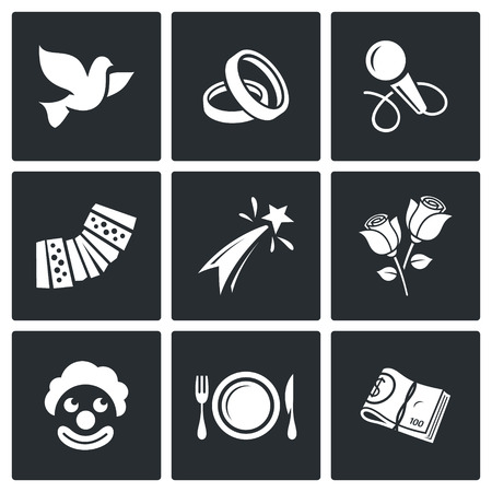 wedding love: Vector Isolated Flat Icons collection on a black background for design Illustration
