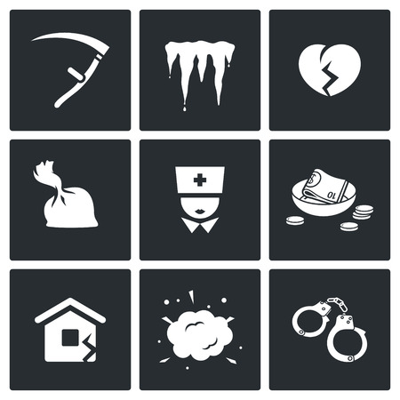 prison house: Unhappiness Vector Isolated Flat Icons collection on a black background for design