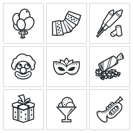poppers: Entertainment Vector Isolated Flat Icons collection on a white background for design Illustration