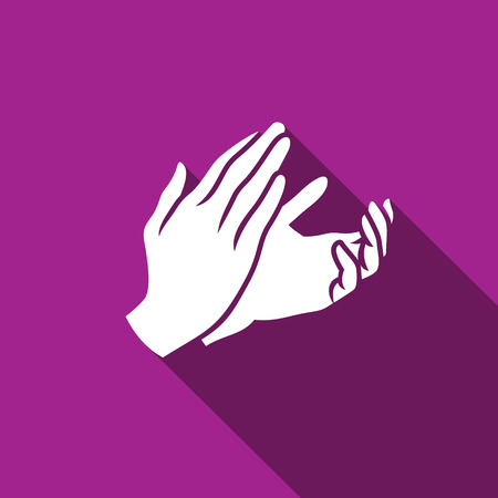hand language: Vector Flat Applause icon. Symbol about Congratulation or Agreement Deal Business Concept.