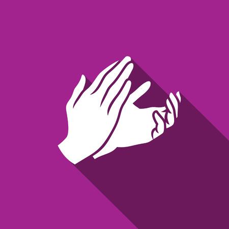 expresion corporal: Vector icono Aplausos plana. Símbolo sobre la enhorabuena o Acuerdo de Reparto de asunto Concepto. Vectores
