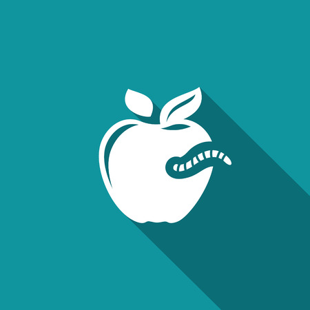 bad condition: Vector Illustration of a white apple with a worm