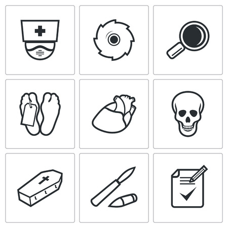 autopsy: Dead body Vector Isolated Flat Icons collection on a white background