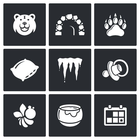 animal den: Bear vector Isolated Flat Icons collection on a black background