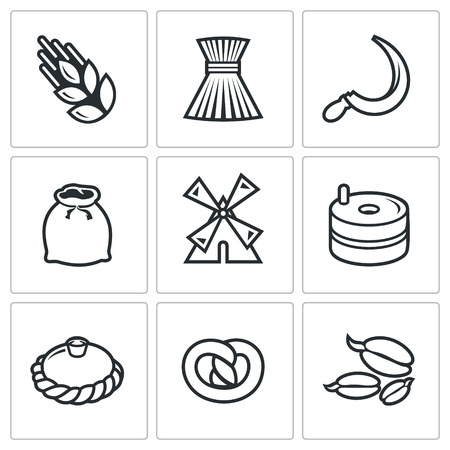 the miller: Manufacture of bread Vector Isolated Flat Icons collection on a white background