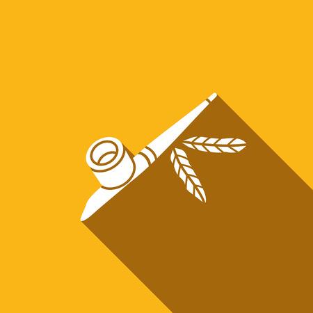 pipe smoking: Pfeife der amerikanischen Indianer Vektor-Illustration isoliert auf gelbem Hintergrund
