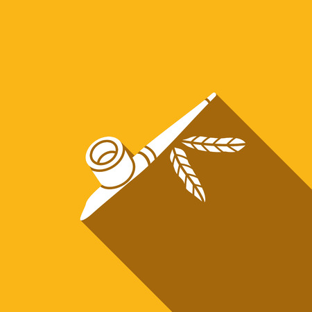 calumet: smoking pipe of the american indians vector illustration isolated on yellow background