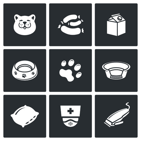 catlike: Cat Vector Isolated Flat Icons collection on a black background