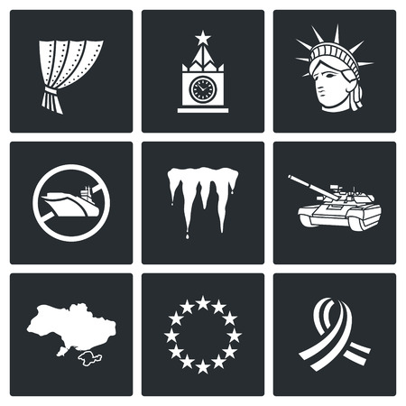 cold war: Cold War Vector Isolated Flat Icons collection on a black background for design