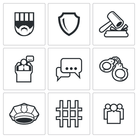 detention: Detention Vector Isolated Flat Icons collection on a white background