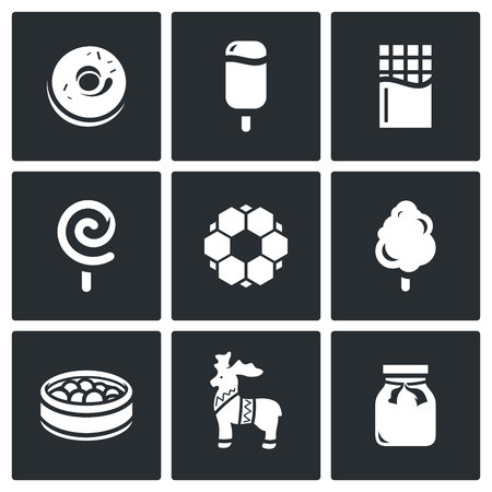 white chocolate: Confection Vector Isolated Flat Icons collection on a black background