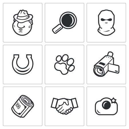 compromising: Detective Vector Isolated Flat Icons collection on a white background for design Illustration