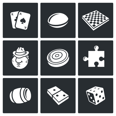 dominoes: Vector Isolated Flat Icons collection on a black background for design Illustration