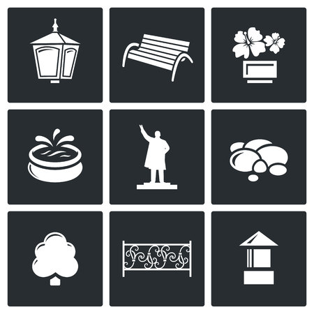 flowerbed: Landscaping Vector Isolated Flat Icons collection on a black background for design