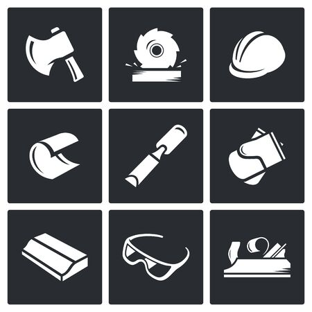 felling: Woodworking Vector Isolated Flat Icons collection on a black background for design