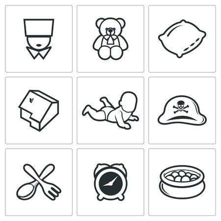 toy chest: Childhood Vector Isolated Flat Icons collection on a white background for design