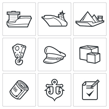 destroyer: Sea craft Vector Isolated Flat Icons collection on a white background for design