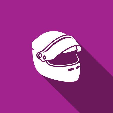 casco de moto: Vector icono aislado plana en un fondo oscuro para el diseño