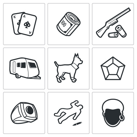 nomadism: Romany Vector Isolated Flat Icons collection on a white background for design