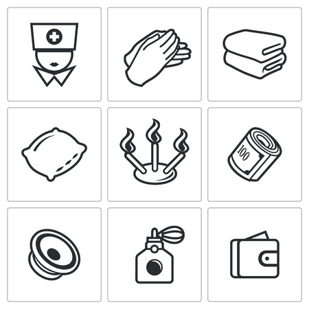 folded hands: Spa Vector Isolated Flat Icons collection on a white background for design