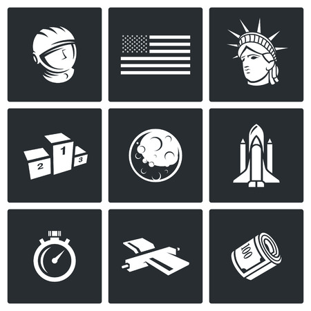 spaceport: Space Vector Isolated Flat Icons collection on a black background for design