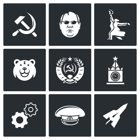 soviet union: Soviet union Vector Isolated Flat Icons collection on a black background for design