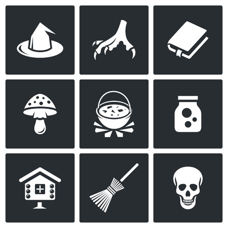hag: Hag Vector Isolated Flat Icons collection on a black background for design