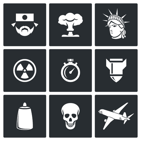 genocide: Vector Isolated Flat Icons collection on a black background for design Illustration