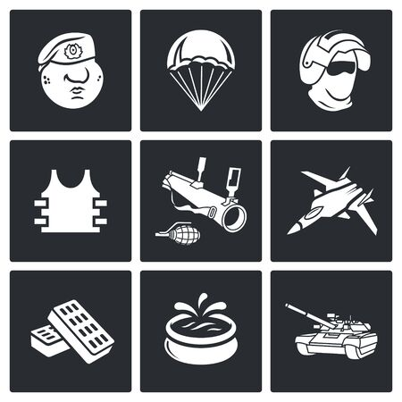 detachment: Vector Isolated Flat Icons collection on a black background for design Illustration