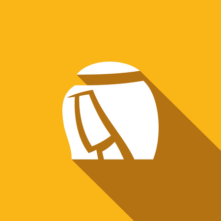 arab adult: Vector Isolated Flat Icon on a yellow background for design