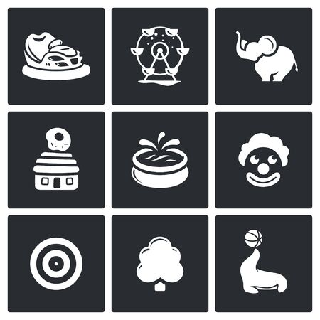 animator: Vector Isolated Flat Icons collection on a black background for design Illustration