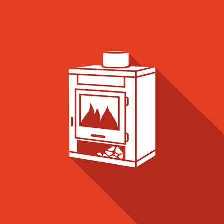 stove pipe: Vector Isolated Flat Icon on a red background for design Illustration