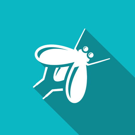 musca: Vector Isolated Flat Icon on a green background for design