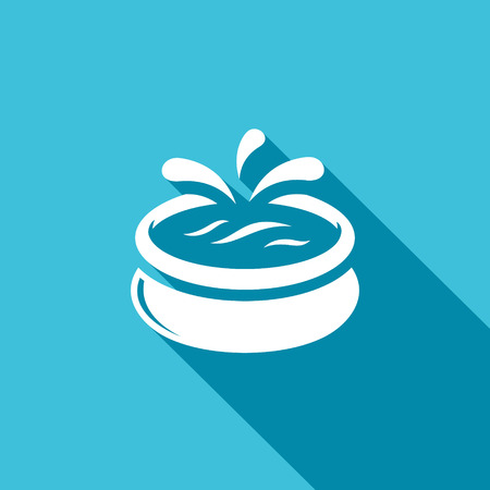 kids swimming pool: Vector Isolated Flat Icon on a blue background for design