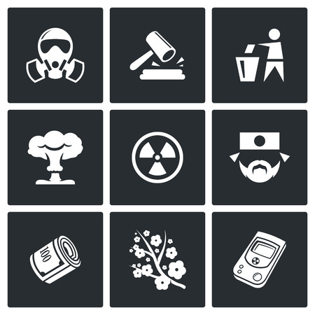 nuclear accident: Vector Isolated Flat Icons collection on a black background for design Illustration