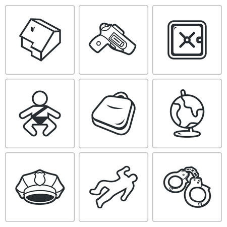 use pistol: Vector Isolated Flat Icons collection on a white background for design