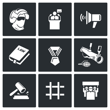 proclamation: Vector Isolated Flat Icons collection on a black background for design Illustration