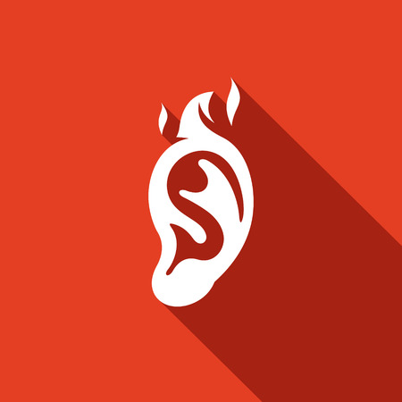 guilt: Shame, guilt, flame ear Vector Isolated Flat Icon on a red background for design Illustration