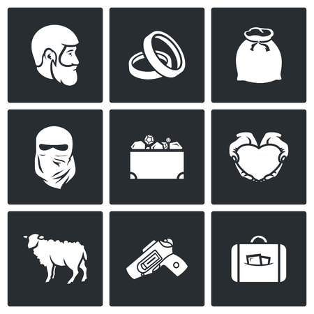 dowry: Vector Isolated Flat Icons collection on a black background for design Illustration