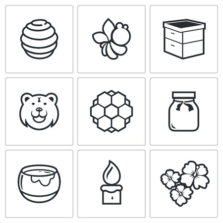 mead: Vector Isolated Flat Icons collection on a white background for design