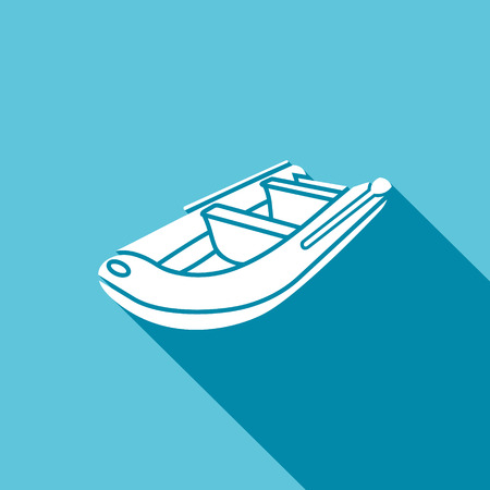 lifeboat: Vector Isolated Flat Icon on a blue background for design