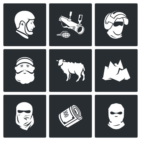 balaclava: Vector Isolated Flat Icons collection on a black background for design Illustration